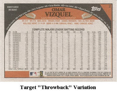 2009 Topps Baseball Card Retail Variation Guide 3