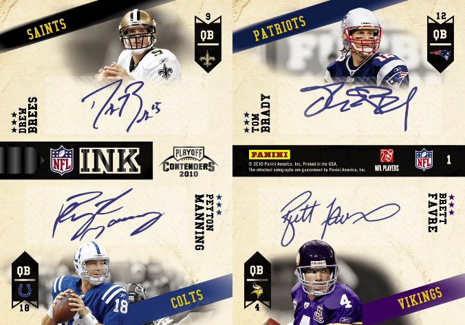 2010 Playoff Contenders NFL Ink Quad Autograph