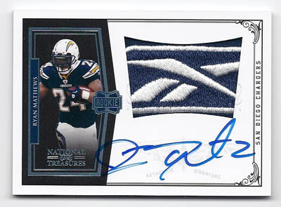 RYAN MATHEWS 2010 NATIONAL TREASURES REEBOK LOGO AUTO Image