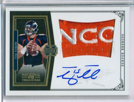 TEBOW BRONCOS PATCH AUTO RC 2010NATIONALTREASURES Image