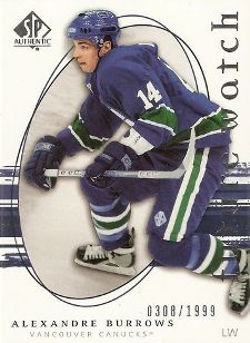2005-06 SP Authentic Alexandre Burrows Rookie Card (/1999)