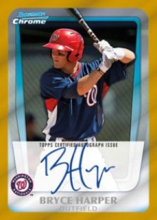 2011 Bowman Chrome Baseball Gold Refractor Autograph Bryce Harper Image