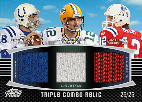 2011 Topps Prime Football Triple Combo Relic Peyton Manning Aaron Rogers Tom Brady Image