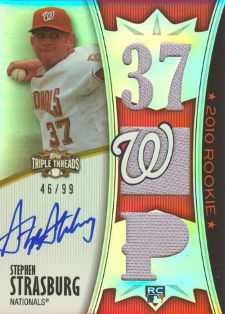 2010 Topps Triple Threads Autographed Jersey Stephen Strasburg 99 Image