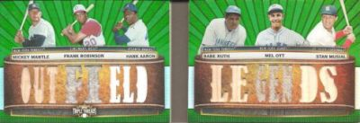 2011 Topps Triple Threads Book Cards Mickey Mantle Frank Robinson Hank Aaron Babe Ruth Mel Ott Stan Musial Outfield Legends Green Image