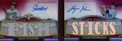 2011 Topps Triple Threads Book Cards Mike Stanton and Logan Morrison Fish Sticks 3 Image