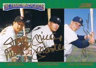 1992 Score Franchise Players Autographs Stan Musial Mickey Mantle Carl Yastrzemski Image