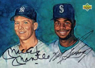 1994 Upper Deck Baseball Autographs Mickey Mantle and Ken Griffey Jr Image