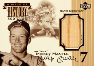 1999 Upper Deck Ovation Piece of History 500 Home Run Club Mickey Mantle Game Used Bat 350 Image