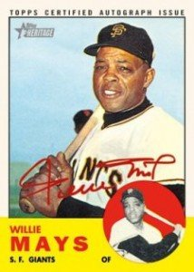 2012 Topps Heritage Baseball Real Ones Red Autographs Willie Mays 214x300 Image