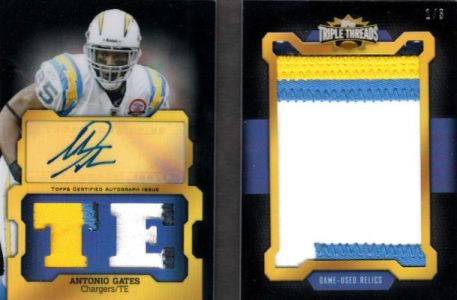 2011 Topps Triple Threads Football Autographed Jumbo Patch Antonio Gates Image