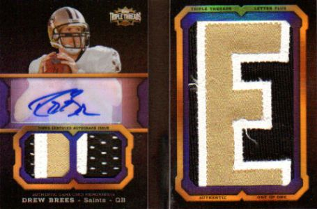 2011 Topps Triple Threads Football Autographed Jumbo Patch Drew Brees Image