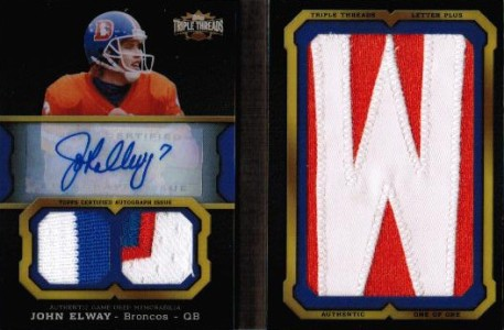 2011 Topps Triple Threads Football Autographed Jumbo Patch John Elway Image