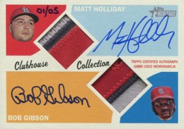 01 2012 Topps Heritage Clubhouse Collection Dual Patch Autograph Matt Holliday and Bob Gibson 260x183 Image
