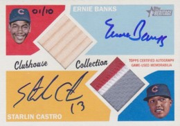03 2012 Topps Heritage Baseball Clubhouse Collection Autographed Dual Relic Ernie Banks and Starlin Castro 260x182 Image