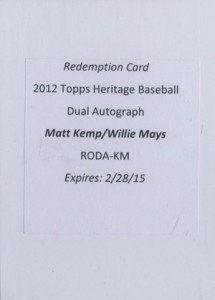 05 2012 Topps Heritage Baseball Real One Dual Autograph Willie Mays and Matt Kemp 215x300 Image