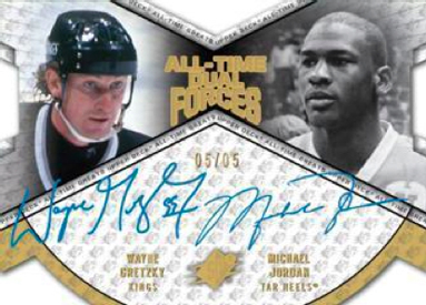 2012 Upper Deck All Time Greats All Time Dual Forces Wayne Gretzky and Michael Jordan Autograph Image