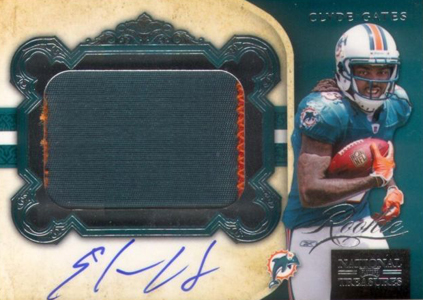 2011 National Treasures Football Autographed Patch 302 Clyde Gates 99 Image