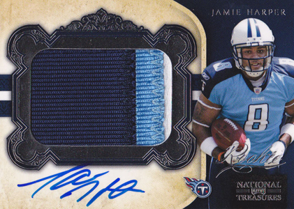 2011 National Treasures Football Autographed Patch 303 Jamie Harper 99 Image