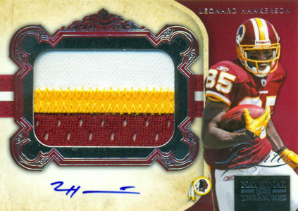 2011 National Treasures Football Autographed Patch 308 Leonard Hankerson Image