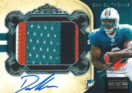 2011 National Treasures Football Autographed Patch 312 Daniel Thomas Image