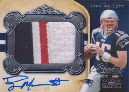2011 National Treasures Football Autographed Patch 315 Ryan Mallett Image