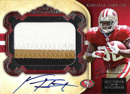 2011 National Treasures Football Autographed Patch 322 Kendall Hunter Image