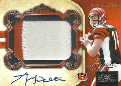 2011 National Treasures Football Autographed Patch 326 Andy Dalton1 Image