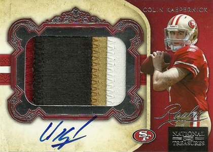 2011 National Treasures Football Autographed Patch 327 Colin Kaepernick Image