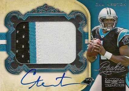 2011 National Treasures Football Autographed Patch 328 Cam Newton Image