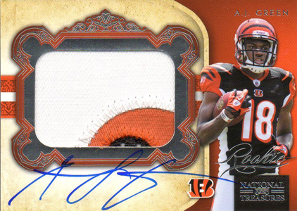 2011 National Treasures Football Autographed Patch 329 AJ Green Image