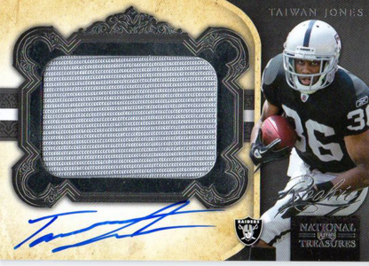 2011 National Treasures Football Autographed Patch 332 Taiwan Jones Image