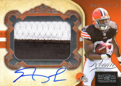 2011 National Treasures Football Autographed Patch 333 Greg Little Image