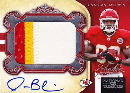 2011 National Treasures Football Autographed Patch 335 Jonathan Baldwin Image