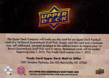 2012 Upper Deck Football Quarterback Trade Card Back