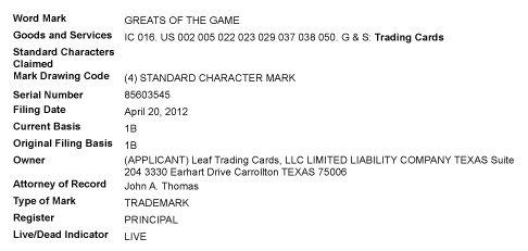 Leaf Trademark Filing - Greats of the Game