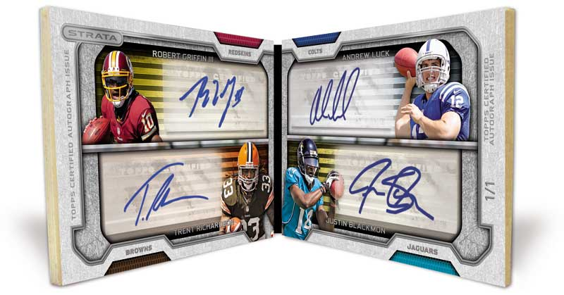 2012 Topps Strata Football Quad Rookie Autograph Book Image