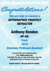 2012 Bowman Platinum Prospect Autographs Anthony Rendon Redemption 212x300 Image