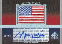 2012 SP Signature Edition Baseball Flag Patch Maury Wills 260x184 Image