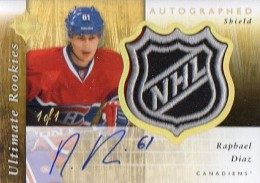 2011 12 Upper Deck Ultimate Collection Hockey Autographed Rookie Shield Raphael Diaz 260x183 Image