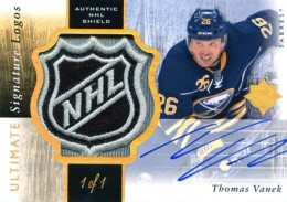 2011 12 Upper Deck Ultimate Collection Hockey Ultimate Signature Logos Thomas Vanek 260x183 Image