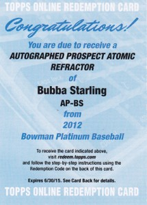 2012 Bowman Platinum Baseball Prospect Atomic Refractor Autograph Bubba Starling Redemption 215x300 Image