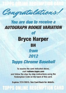 2012 Topps Chrome Baseball Autographs BH Bryce Harper Redemption 213x300 Image