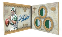 2012 Topps Five Star Football Gold Patch Triple Relic Autograph Book Card Joe Namath 260x156 Image