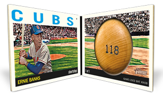 2013 Topps Heritage Baseball Bat Knob Book Card Ernie Banks Image