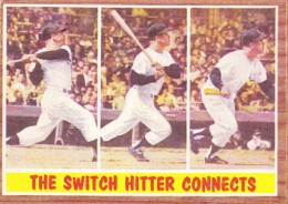 1962 Topps Micky Mantle 318 Switch Hitter Connects 260x184 Image