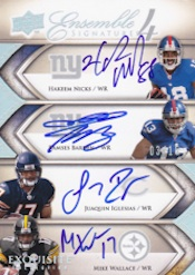 2009 Upper Deck Exquisite Football Ensemble 4 Card Image