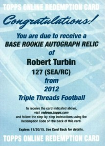 2012 Topps Triple Threads Football Robert Turbin RC SEA RC Redemption 215x300 Image