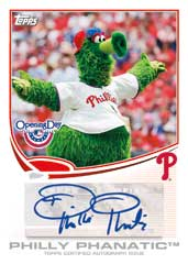 2013 Topps Opening Day Baseball Mascot Autographs Image