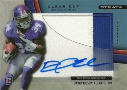 2012 Topps Strata Football Clear Cut Autograph Relic David Wilson 75 260x185 Image